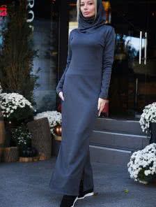 Длинное теплое флисовое платье на меху