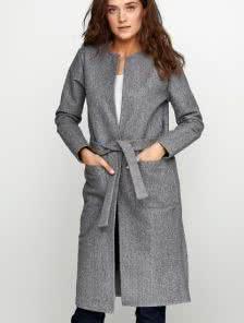 Теплое пальто-кардиган на осень