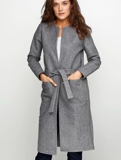 Теплое пальто-кардиган с ангорой на осень, фото 1
