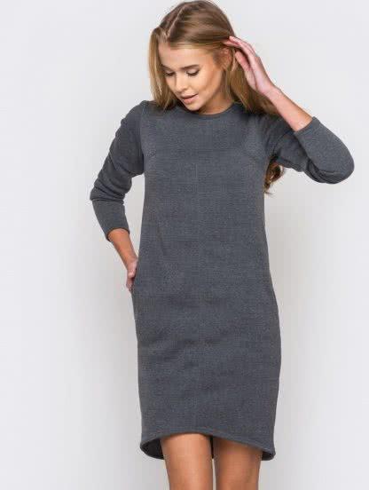 Серое короткое платье на флисе с карманами, фото 1