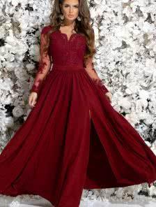 Вечернее бордовое платье с кружевом