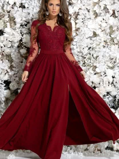 Вечернее бордовое платье с кружевом, фото 1