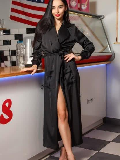 Роскошный черный халат с карманами под пояс, фото 1
