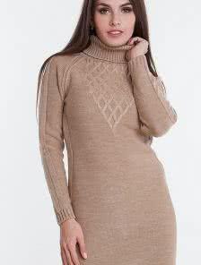 Вязанное короткое платье на зиму