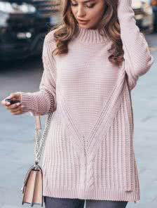 Удлинённый свитер-трапеция цвета пудры