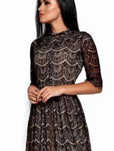 Черное ажурное платье -миди