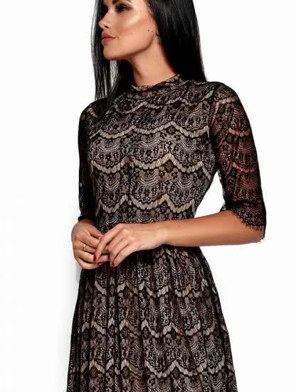 Черное ажурное платье с бежеаой подкладкой длинны-миди, фото 1