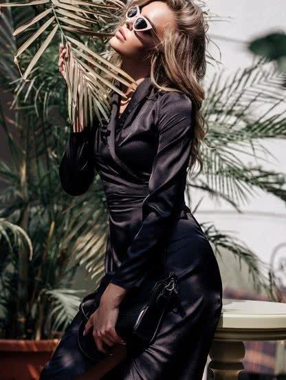 Черное шелковое платье халат на запах, фото 1