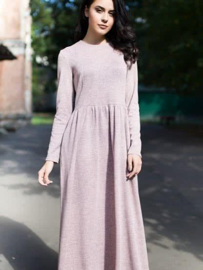 Ангоровое повседневное теплое платье цвета пудры, фото 1