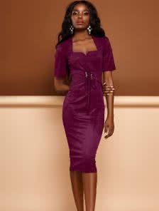 Платье-футляр из еко-замши с декоративным поясом и коротким рукавом
