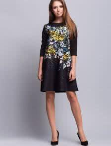 Платье  трапеция с трендовым цветочным принтом