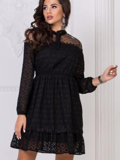 Черное короткое кружевное платье в горошек, фото 1