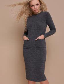 Серое платье-футляр с карманами