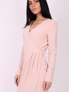 Асимметричное платье на запах с фигурным подолом цвета пудры