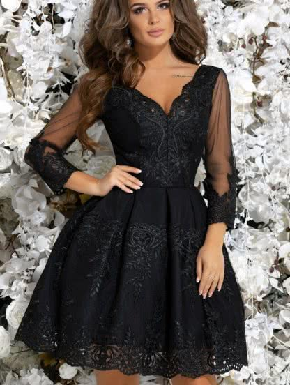 Коктейльное кружевное расклешенное платье с пышной юбкой, фото 1