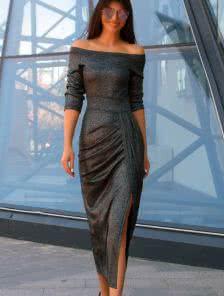 Черное мерцающее платье с разрезом