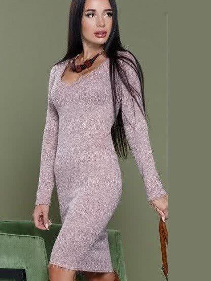 Пудровое облегающее повседневное платье средней длины, фото 1