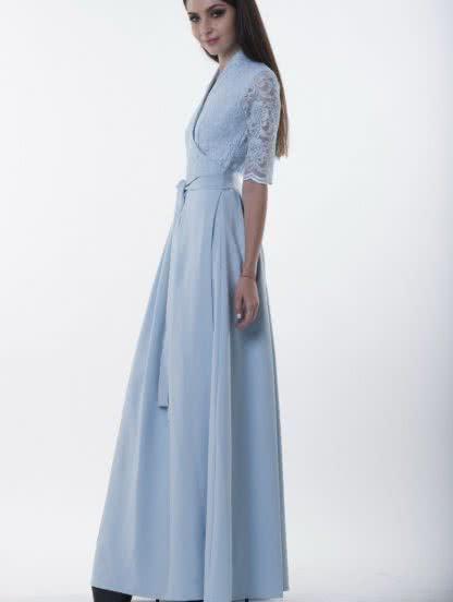 Длинное розовое платье с кружевом, фото 1