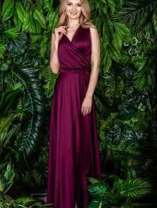 Длинное шелковое платье цвета марсала