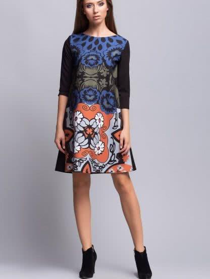 Платье-трапеция с цветочным принтом и рукавом 3/4, фото 1