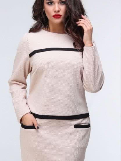 Платье длины миди бежевого цвета, фото 1