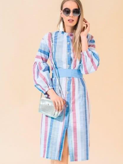 Платье-рубашка с натуральной ткани в красно-синюю полоску с рукавами, фото 1