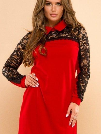 Красное платье свободного силуэта с кружевными вставками, фото 1
