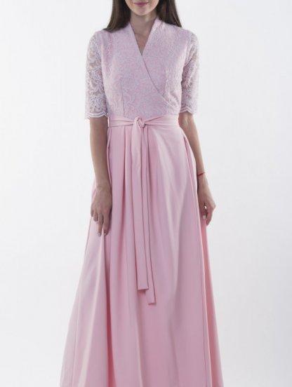Длинное светлое платье с кружевным верхом и рукавом 3/4, фото 1