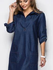 Платье-рубашка из облегченного денима с карманами