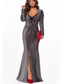 Длинное черное платье из люрекса с разрезом