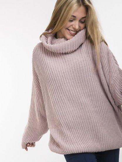 Пудровий теплый свитер оверсайз с широкой горловиной, фото 1