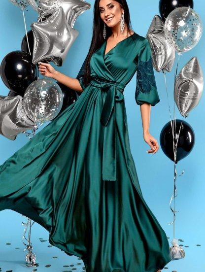 Длинное зелёное шелковое платье на запах с кружевом на рукавах, фото 1