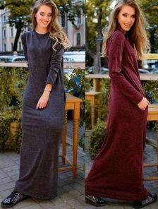 Длинное ангоровое платье в пол на зиму