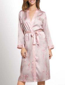 Шёлковое кимоно свободного покроя с поясом в сером цвете