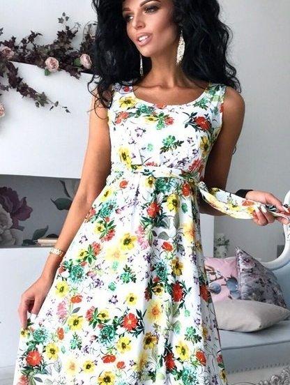 Повседневное летнее легкое платье в цветочный принт, фото 1
