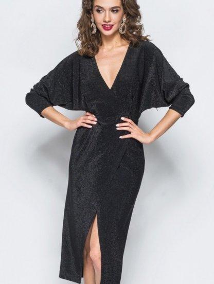 Нарядное вечернее платье с люрексом на вечеринку, фото 1