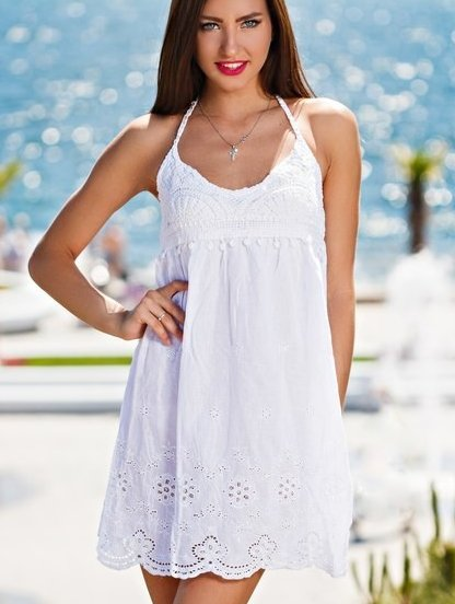 Хлопковое мини платье туника на море, фото 1