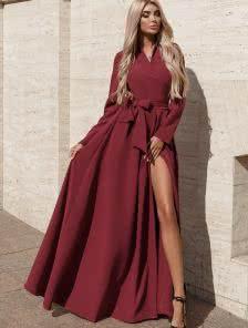 Длинное вишнёвое платье на запах