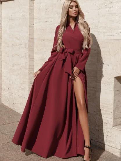 Длинное вишнёвое платье на запах, фото 1