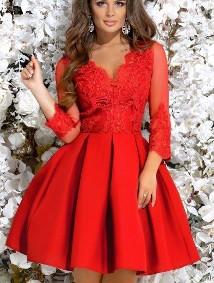 Кружевное короткое красное платье с прозрачными рукавами, фото 1
