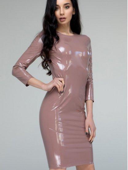 Пудровое виниловое платье с молнией сзади длинны миди, фото 1