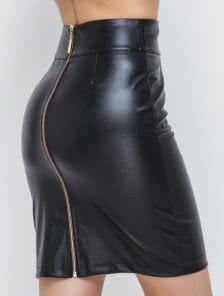 Короткая приталенная юбка с молнией