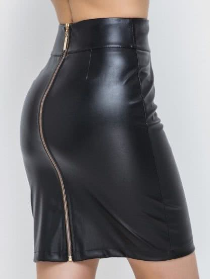 Короткая приталенная юбка с молнией, фото 1