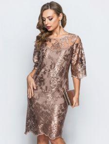 Гипюровое платье-миди с рукавом 3 с скрытой молнией сзади
