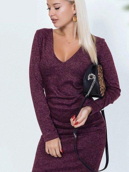 Ангоровое платье-футляр с имитацией запаха в бордовом цвете, фото 1