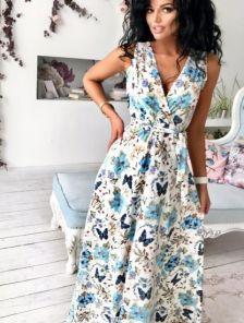 Летнее платье с иммитацией запаха в цветы