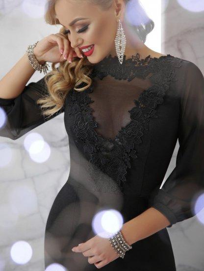 Черное платье-годе с кружевом, фото 1