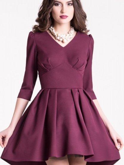 Коктейльное платье в бордовом цвете с пышной асимметричной юбкой, фото 1