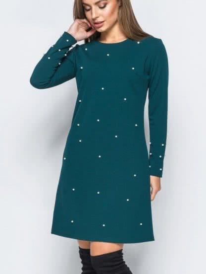 Зелёное короткое платье А-силуэта с бусинками, фото 1