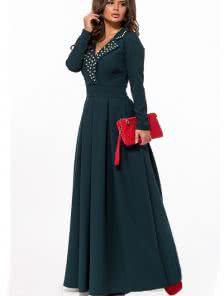 Длинное изумрудное вечернее платье на длинный рукав